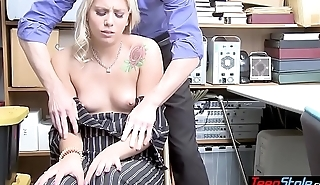 Shy classy thief got caught and now she has to fuck