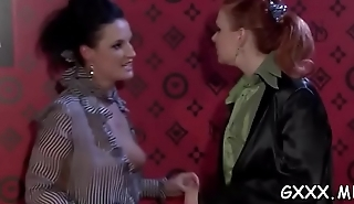 Mature lesbo gets her sweet cunt toyed with a large vibrator