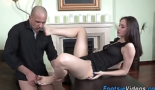 Teen foot fucks hard cock