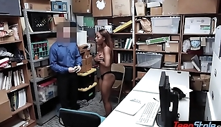 Pierced titted ebony thief fucked anally by a mall cop