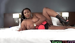 Booty shaking ebony shemale strokes her cock