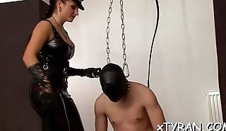Dude gets walked around on a chain in some sexy femdom act