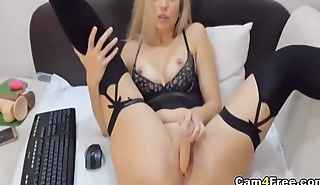 Gorgeous Blonde Strips And Masturbates Her Pink Pussy on Vpornlive.com