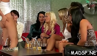 Excited babes share a dick and lick every other up at sex party
