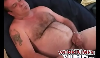 Big belly homo smoking and convulsive off before a jizz blast
