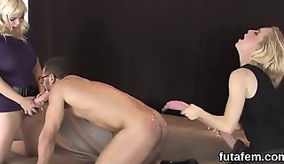Chicks ride boyfriends anal with big strap-ons and squirt hallow juice