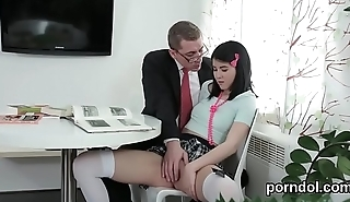 Kissable college girl is tempted and screwed by older lecturer