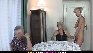 Horny mom licks her young pussy then old dad fucks