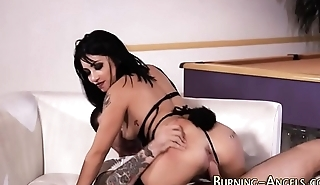 Lingerie goth gets banged